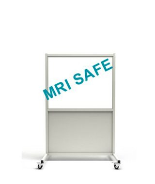 MRI-Safe Mobile Leaded Aluminum Barrier with 76.2cm x 122cm Window