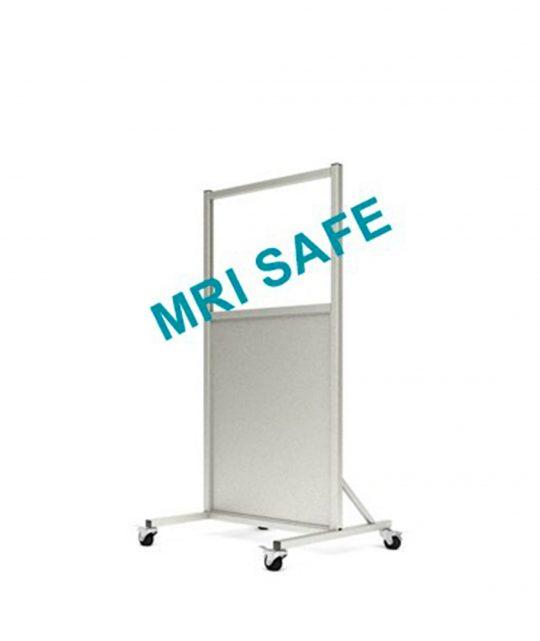 MRI-Safe Mobile Leaded Aluminum Barrier with 61cm x 76.2cm window